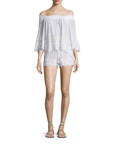 Brenna Geometric-Embroidered Top, Pure White & Minnie Geometric-Embroidered Shorts, Pure White