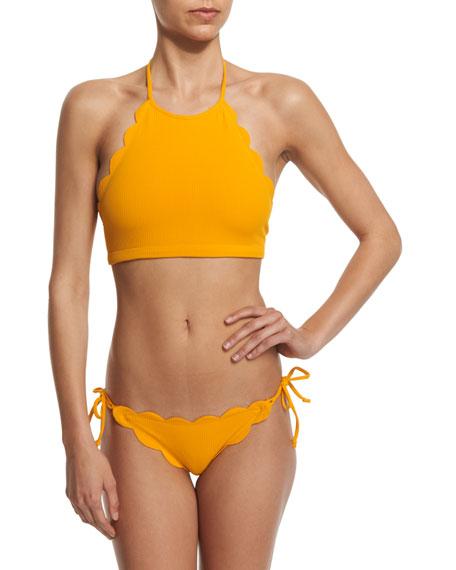 7e85d8d2e8a03 Marysia Mott High-Neck Swim Top & Tie-Side Scalloped Swim Bottom, Papaya