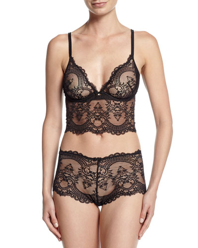 Chrystalle Lace Long-Line Bra, Black & Chrystalle Lace Boyshorts, Black