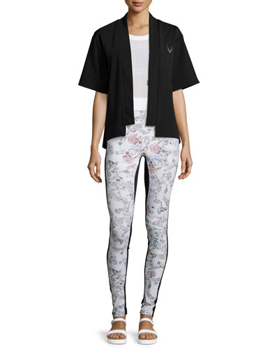 Open-Front Short-Sleeve Bolero Sport Jacket  Perforated Mesh Cropped Sport Shirt  Inca Racerback Sports Bra & Lima Printed Sport Leggings