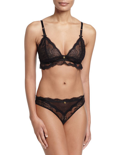 Présage Triangle Bra & Thong, Black