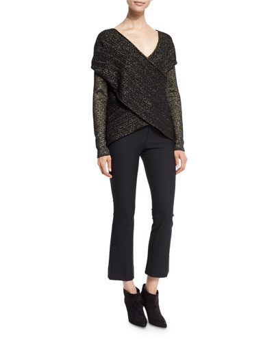 Cross-Front Metallic Wool-Blend Sweater & Cropped Flare Stretch Trousers