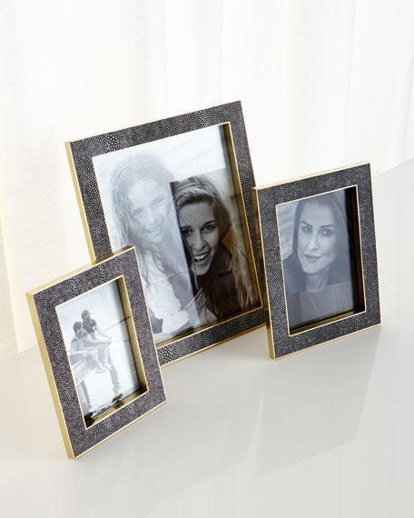 """Classic Chocolate Faux-Shagreen Picture Frame, 8"""" x 10"""""""
