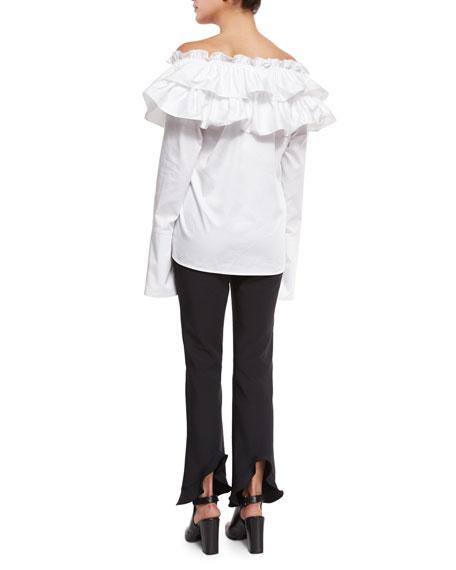 Sateen Layered Ruffle Top, White
