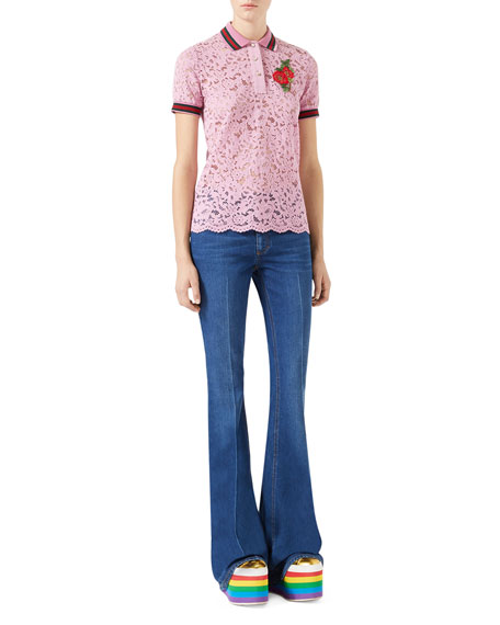 Short-Sleeve Lace Polo with Flower Patch, Rose