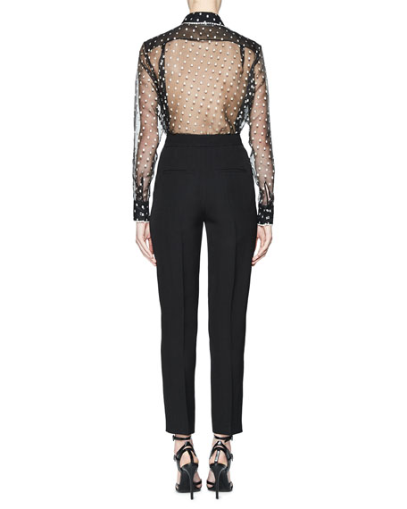 Tolka Embroidered Sheer Blouse, Black