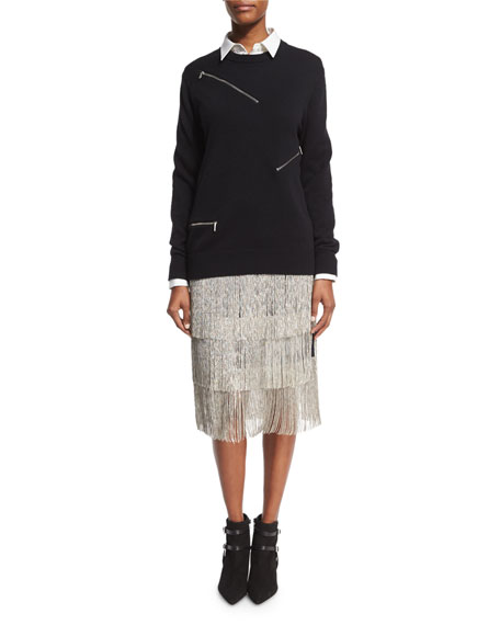 Layered Chain-Fringe Skirt, Black