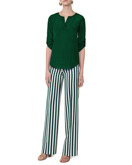 Split-Neck Silk Blouse, Emerald