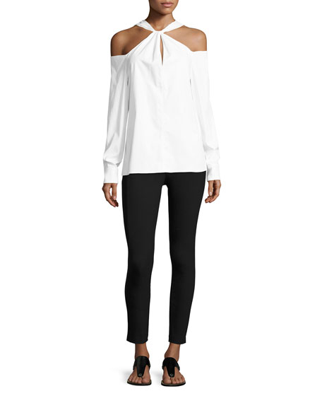 Collingwood Cold-Shoulder Long-Sleeve Top, White