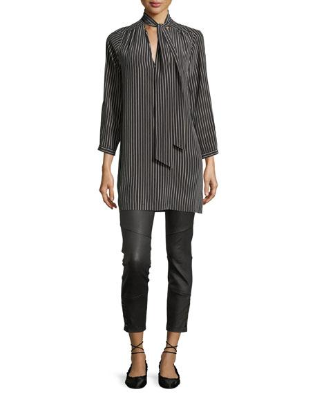 Darnella Skinny Leather Pants w/ Snaps