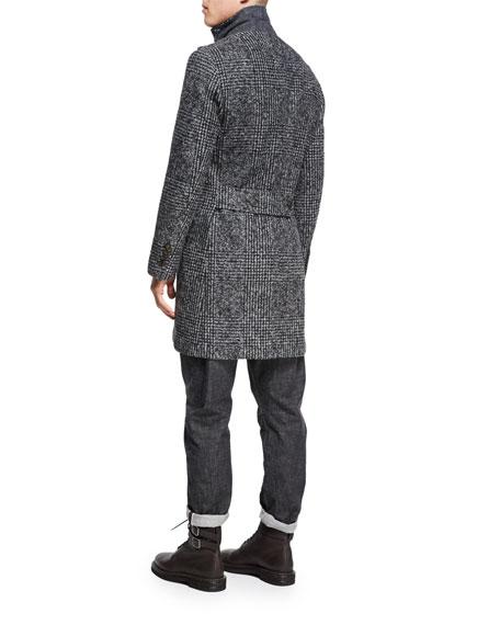 Glen Plaid Alpaca Single-Breasted Coat, Dark Gray