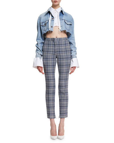 Cropped Plaid High-Waist Pants and Matching Items
