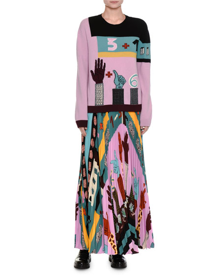 Counting Print Plisse Maxi Skirt