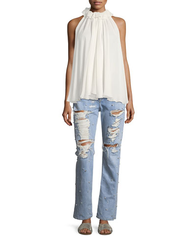 Distressed Studded Straight-Leg Boyfriend Jeans and Matching Items
