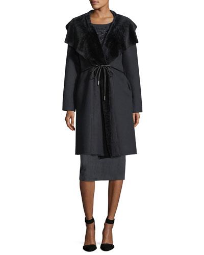 Farah Shearling Fur-Trim Coat and Matching Items