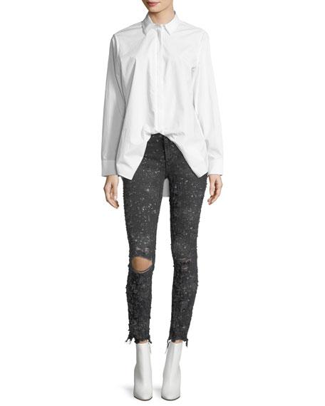 Spread-Collar Long-Sleeve Poplin Shirt