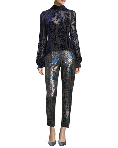 Cropped Metallic Jacquard Pants and Matching Items
