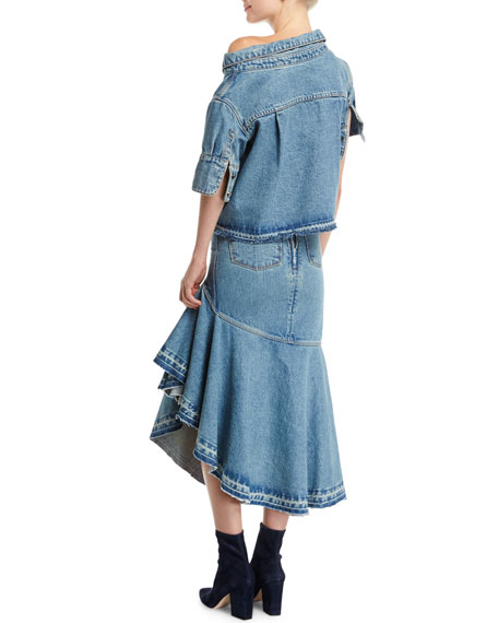 Off-Shoulder Asymmetric Denim Top