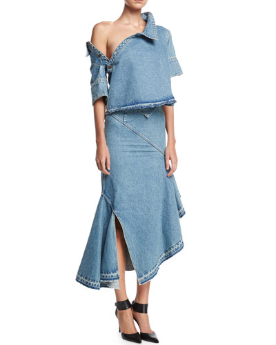 Off-Shoulder Asymmetric Denim Top and Matching Items