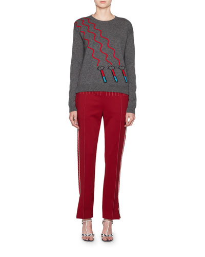 Lipstick Waves Embroidered Sweater and Matching Items