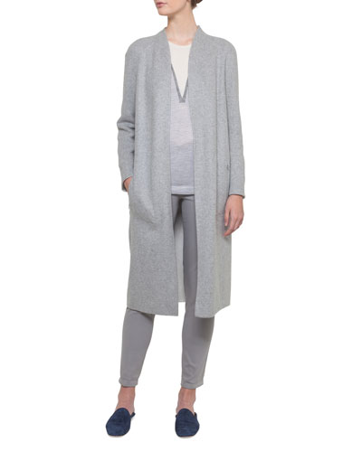 Open-Front Reversible Silk Jersey Long Coat and Matching Items
