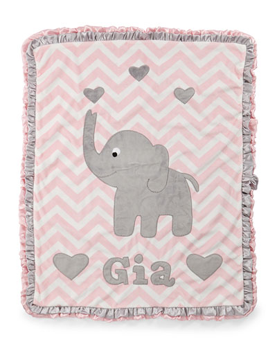 Plush Chevron Elephant Blanket  Pink