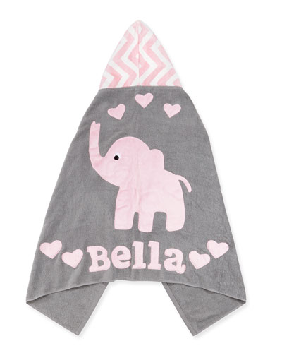 Personalized Big Foot Elephant Hooded Towel  Pink