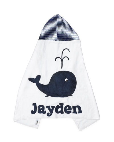 Hooded Whale Towel  White/Blue