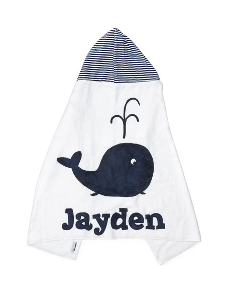 Hooded Whale Towel, White/Blue