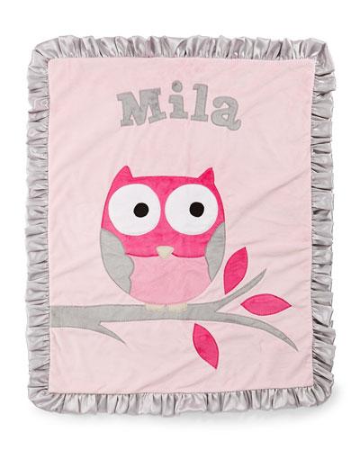 It's a Hoot Plush Blanket  Pink