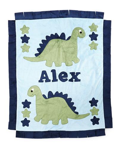 Plush Dino the Dinosaur Blanket  Blue/Green