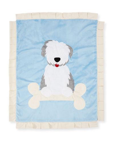 Puppy Love Plush Baby Blanket  Blue