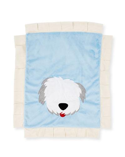 Pup Love Plush Baby Blanket  Blue