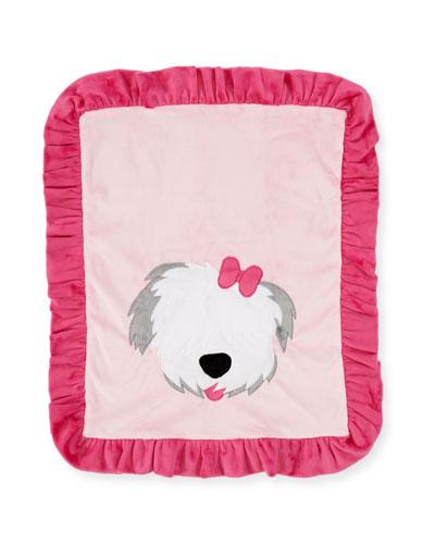 Pup Love Plush Baby Blanket  Pink