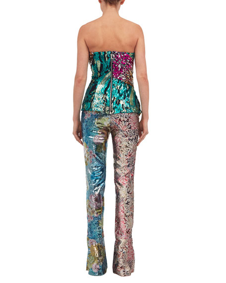 Multicolor Sequined Bustier Top