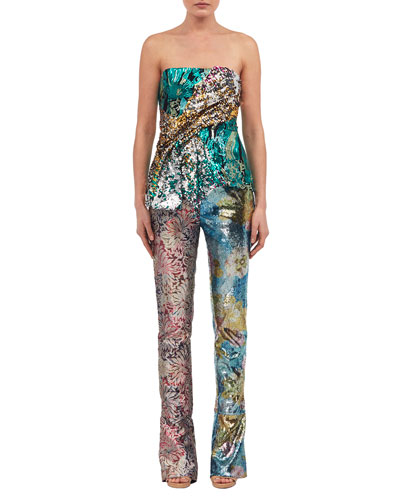 Sequined Wide-Leg Pants and Matching Items