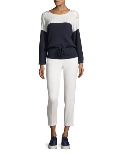 Double-Wool Crepe Slim Trousers, White and Matching Items Quick Look. Agnona