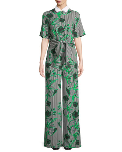 Linear Floral-Printed Tie-Front Top with Detachable Collar and Matching Items