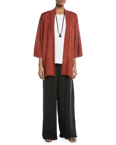 Hand-Loomed Knitted Lightweight Linen Poncho Cardigan with Oversized Rib Detail