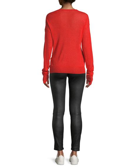 Crewneck Cutout Long-Sleeve Wool-Silk Sweater