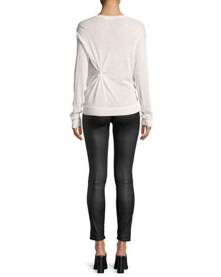 Knotted Crewneck Long-Sleeve Cashmere Sweater