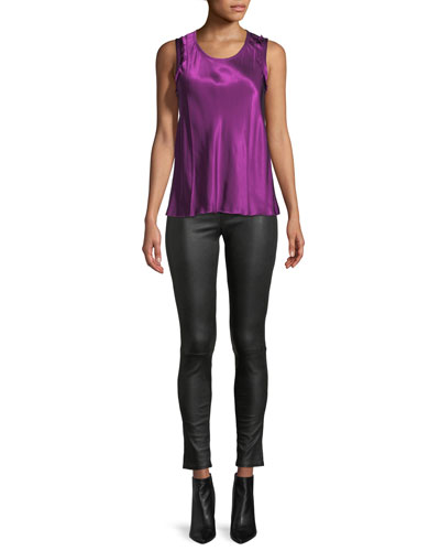Scoop-Neck Sleeveless Bias-Seam Satin Top and Matching Items