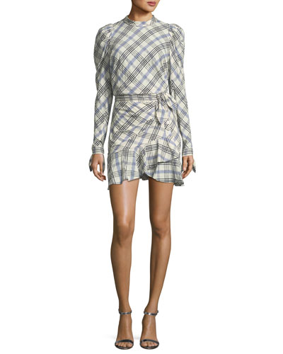 Isabel Mock-Neck Button-Down Back Plaid Top and Matching Items