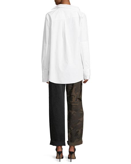 Long-Sleeve Double-Collar Blouse