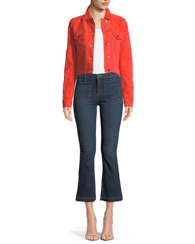 Liam Suede Button-Front Cropped Jacket and Matching Items