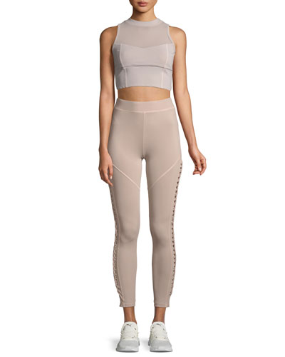 Kira High-Neck Performance Mesh Crop Top with Lace-Up Detail and Matching Items