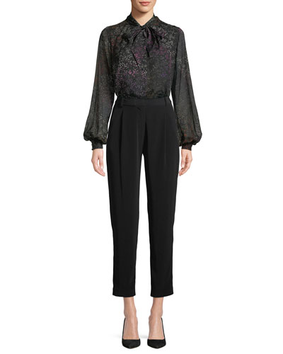 Blouson-Sleeves Floral-Print Silk Blouse and Matching Items