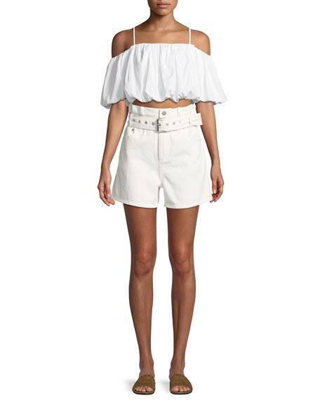 Off-the-Shoulder Short-Sleeve Cotton Crop Top