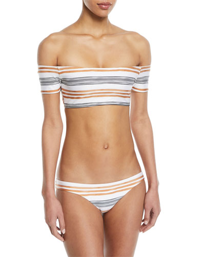 Potosi Striped Off-the-Shoulder Swim Top and Matching Items