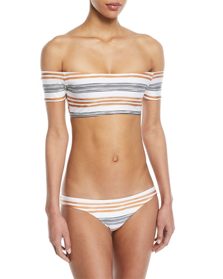 Potosi Striped Off-the-Shoulder Swim Top